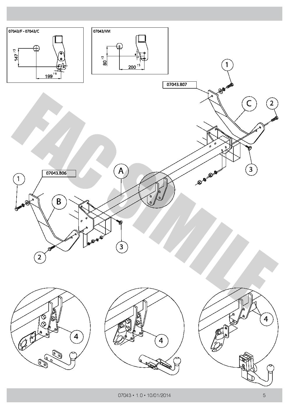 attelage col de cygne 7br faisceaux pour citro n c5 tourer break 2008 070 e1 ebay. Black Bedroom Furniture Sets. Home Design Ideas