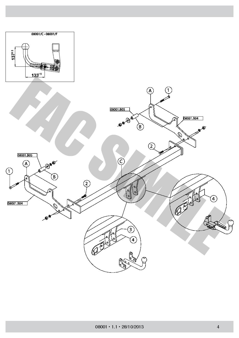 Attelage Col de Cygne 7 B Faisceaux pour Alfa Romeo 156 Sportwagon Break 1997-06