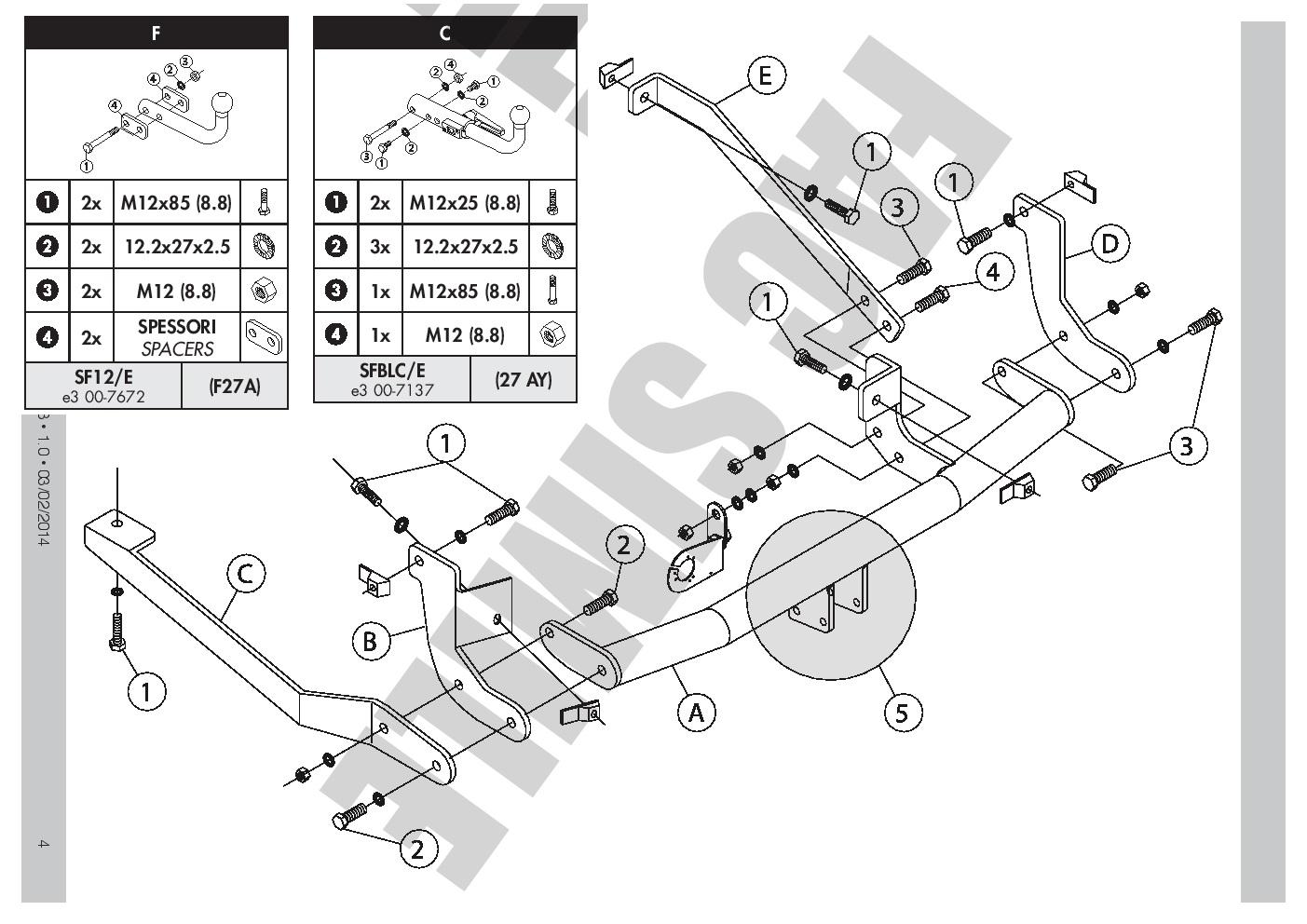 swan neck towbar for peugeot expert 7 pin bypass relay 94 f h7