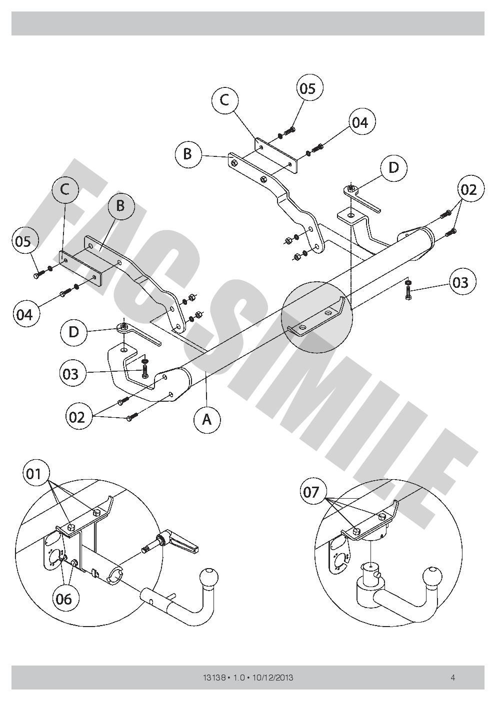 Detachable Towbar   7p Wiring For Fiat Stilo Multi Wagon Estate 03