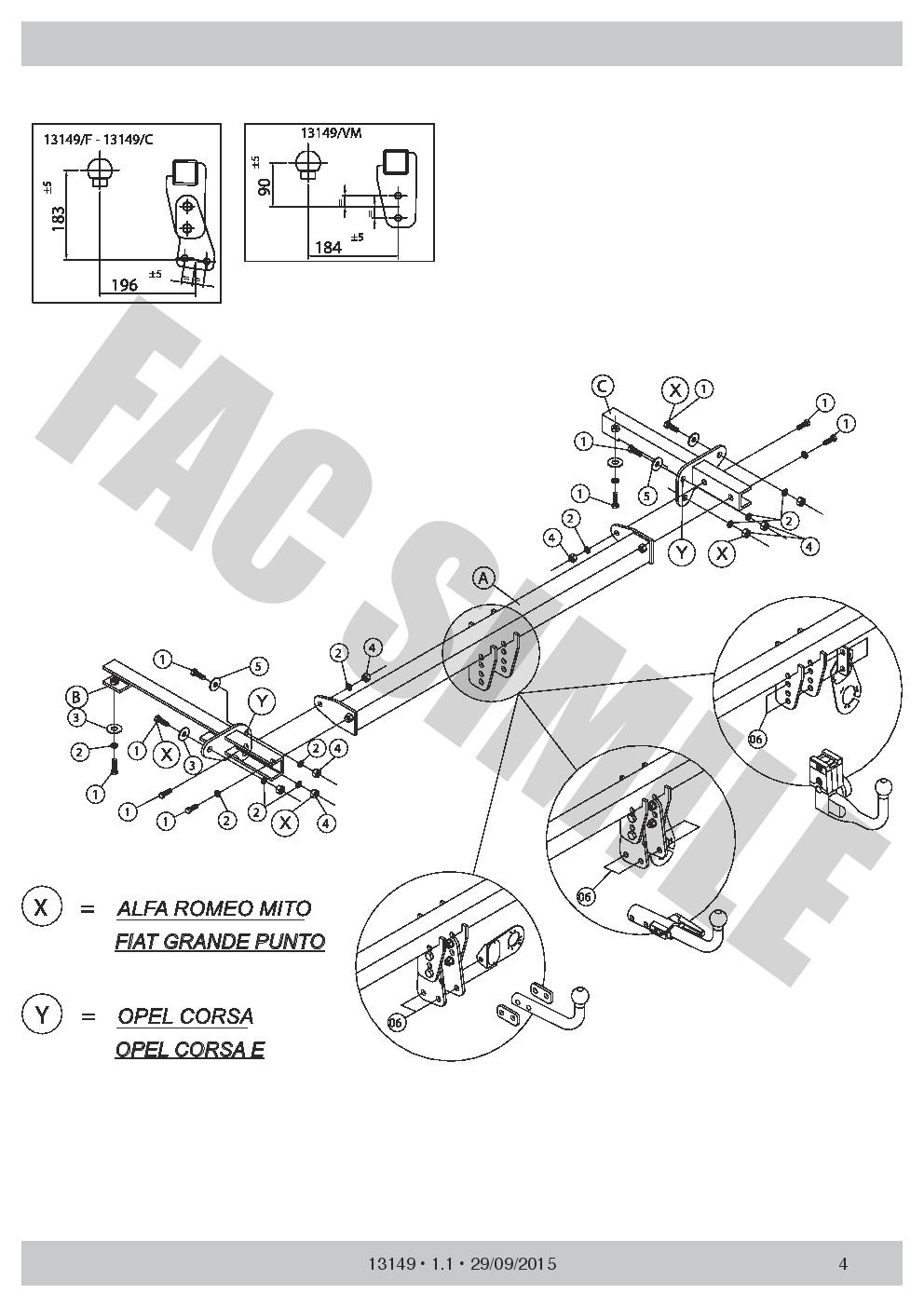 7Br Faisceaux pour Lancia Delta Hayon 2008 Attelage Démontable 13/_E2