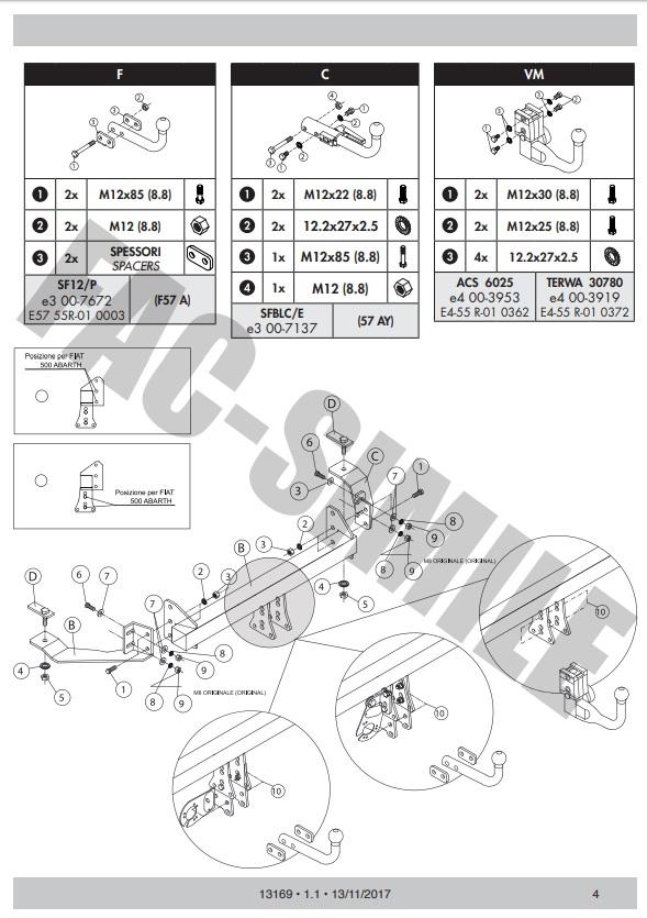 AHK Abnehmbare Anhängerkupplung 13p E-Satz Alfa Romeo 166 Limousine 98 01051/_A1