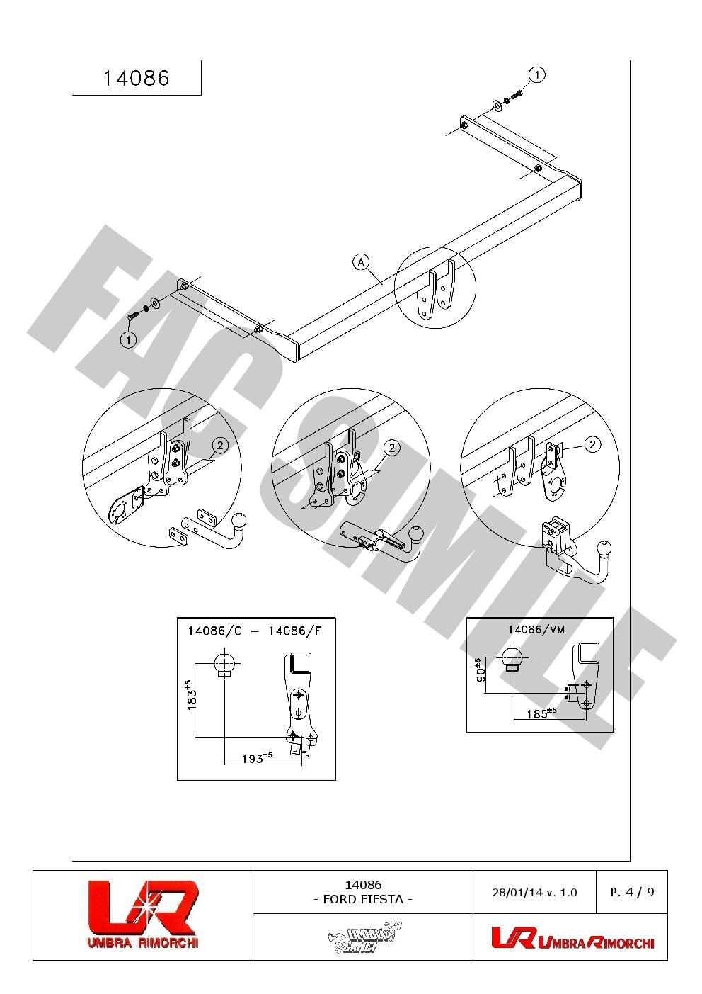 Attelage Col de Cygne pour Ford Focus Hayon 3-5portes 1500 75 05-07 14078//F/_B2