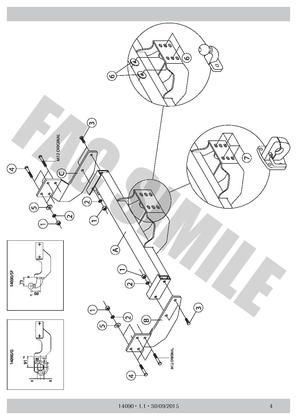 ahk anh ngerkupplung f r flansch ford transit custom van. Black Bedroom Furniture Sets. Home Design Ideas