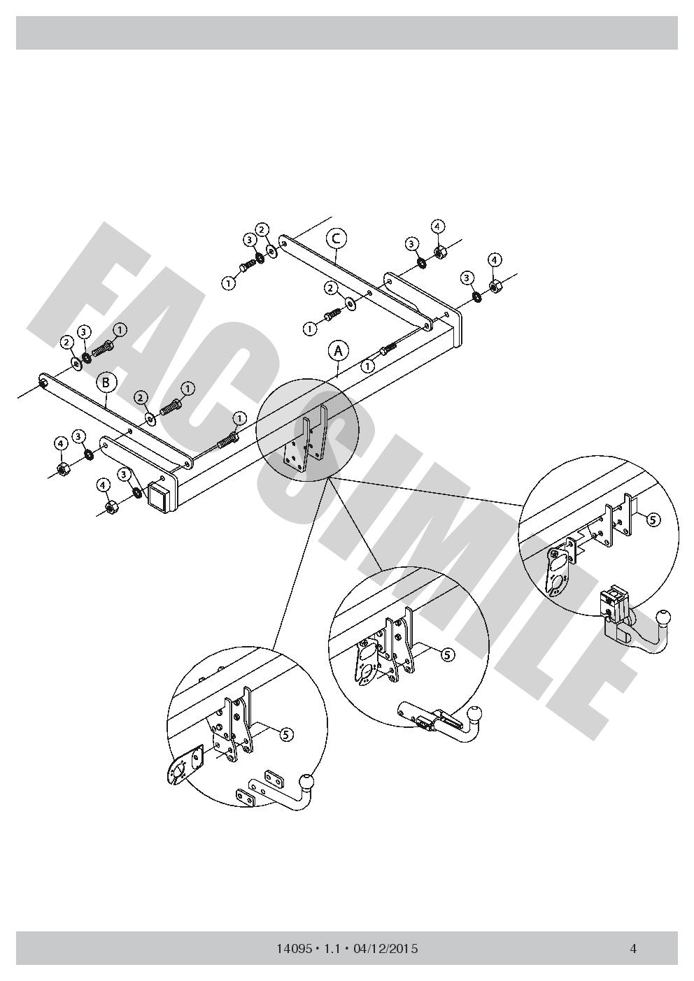 Vertical Detachable Towbar 13 Pin Kit C2 Wiring Tow Bar For Ford Mondeo Diagram