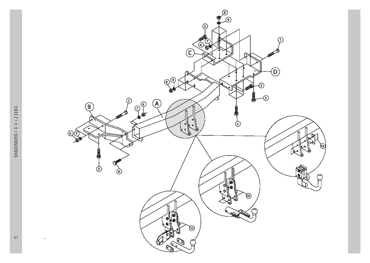 detachable towbar  13pin c2 wiring kit for hyundai santa fe 2