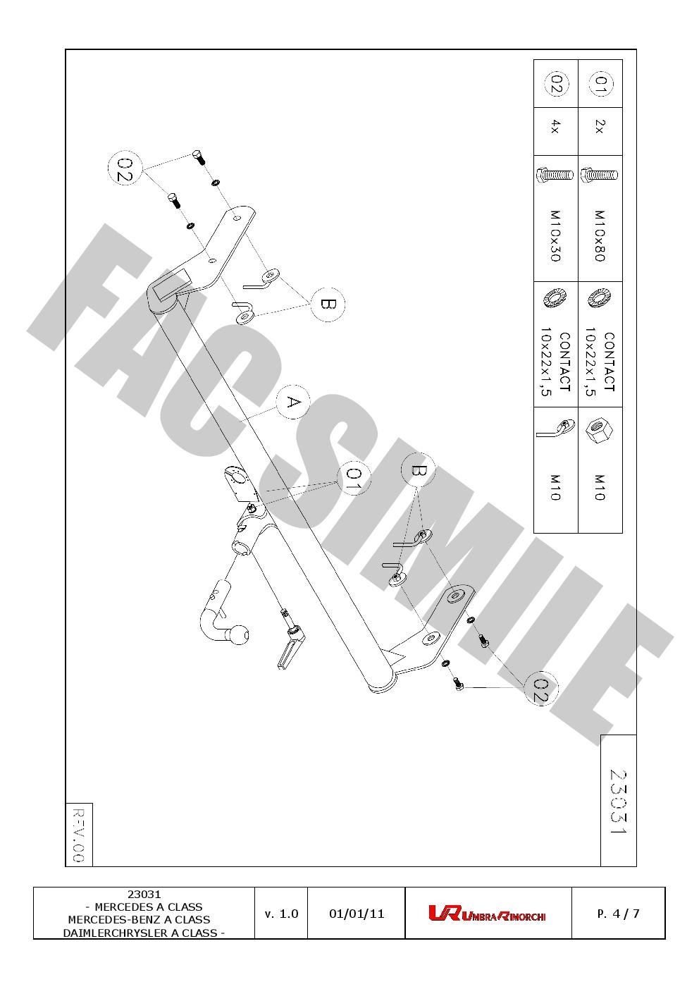Detachable Towbar 13 Pin Kit C2 Wiring For Mercedes A Class Mpv Diagram
