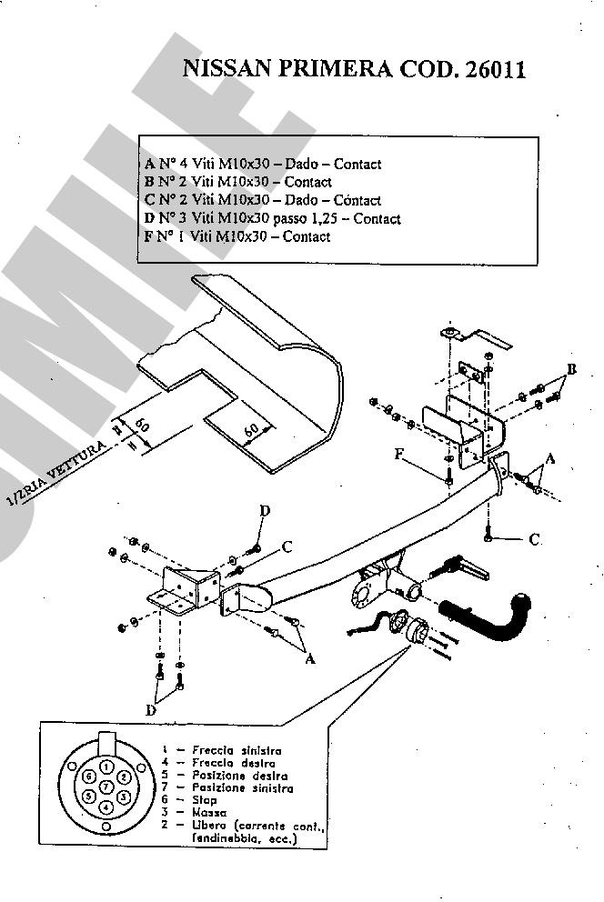 detachable towbar 13 pin kit c2 el for nissan primera