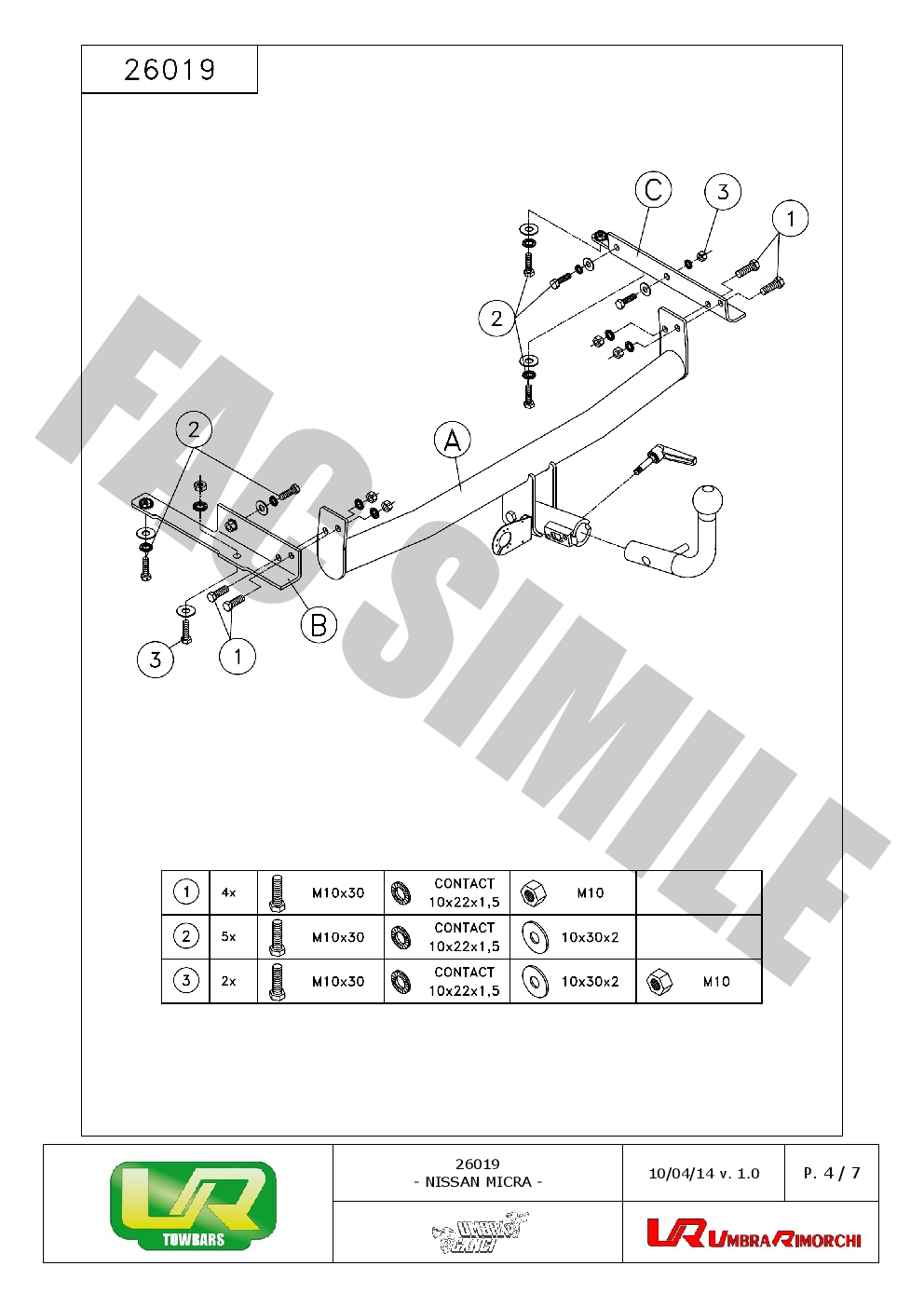detach towbar universal 7p kit wiring for nissan micra