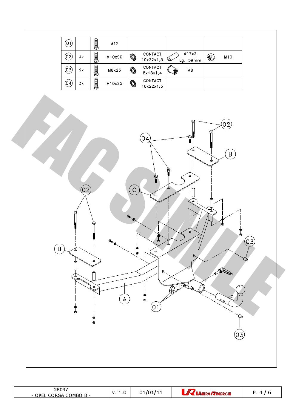 Detach Towbar 13p C2 Wiring Kit for Opel Vauxhall ComboB Van 94