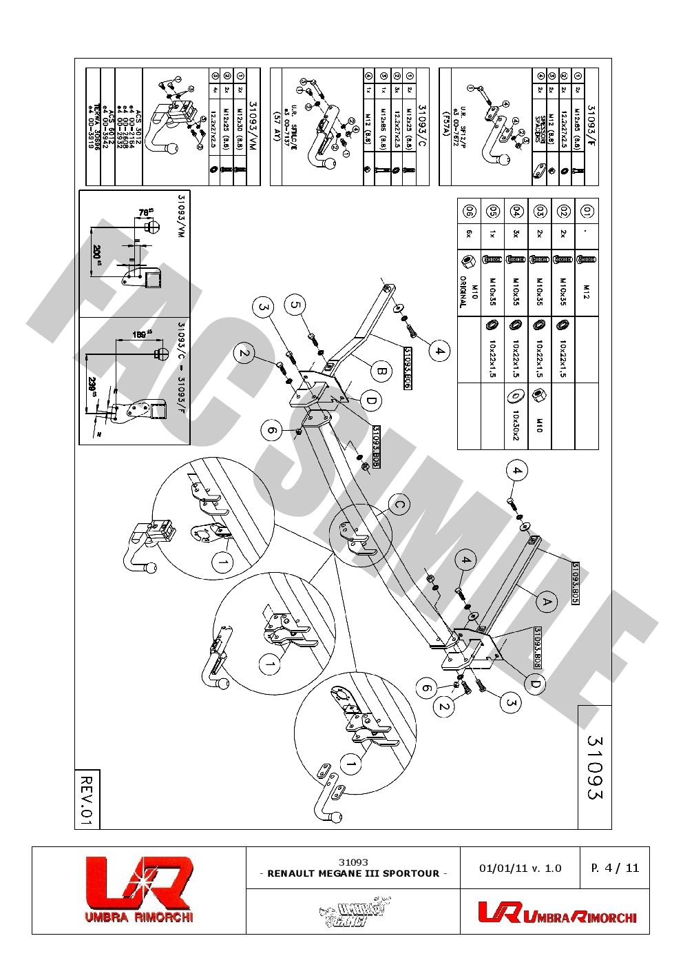 Swan Neck Towbar For Renault Megane Iii Sportour Est 2009on Tow Bar Wiring Diagram