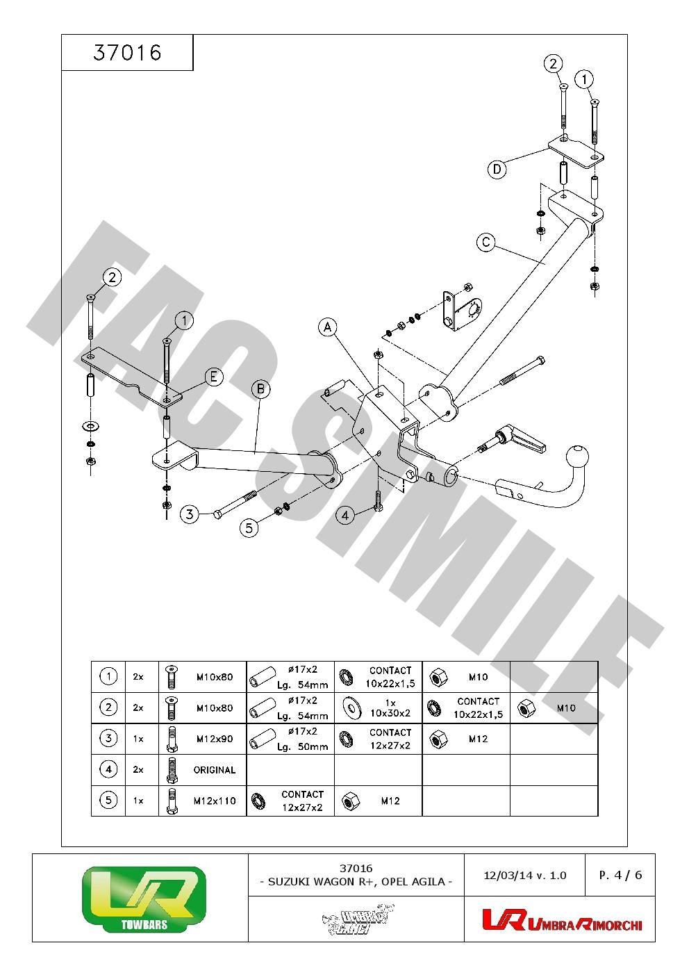Detachable Towbar +7pin Wiring for Suzuki WAGON R+ 5seats