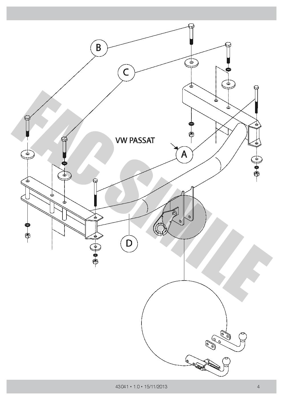 SKODA SUPERB 2002-2008 3U Saloon Detachable Towbar with Electric Kit 7Pin