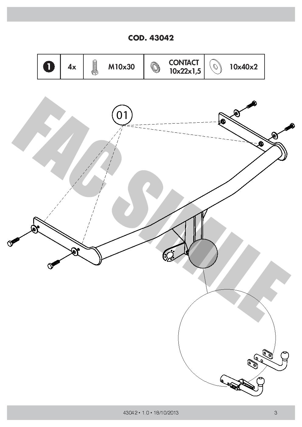 13168//C/_UKE1 Detachable Towbar 7p Electrics for Fiat 500 Hatch 3dr 500 S 2007