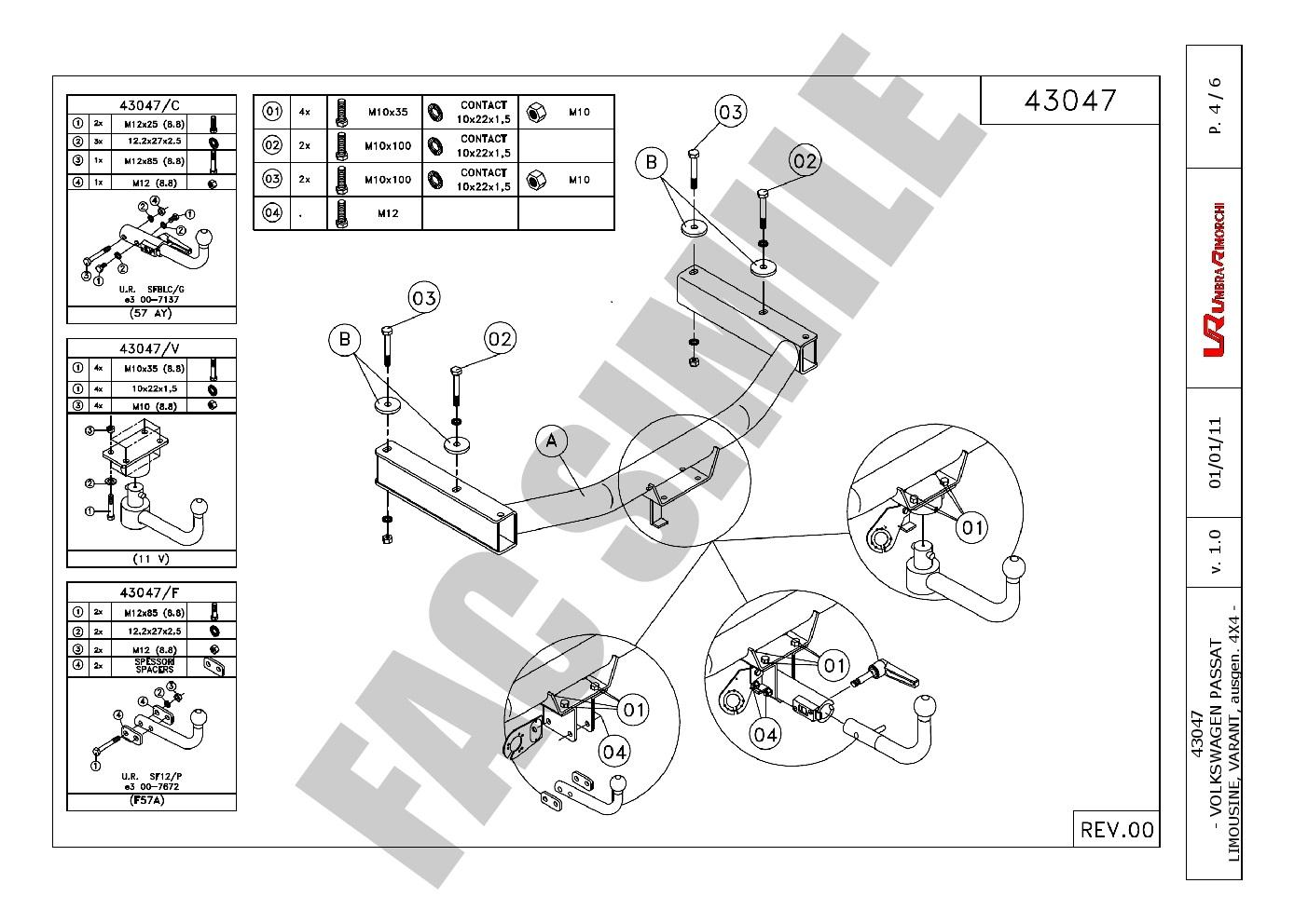 Bola de Remolque Fija para Ssangyong Rexton 4WD Restyling 2002-2017 34202//F/_B2