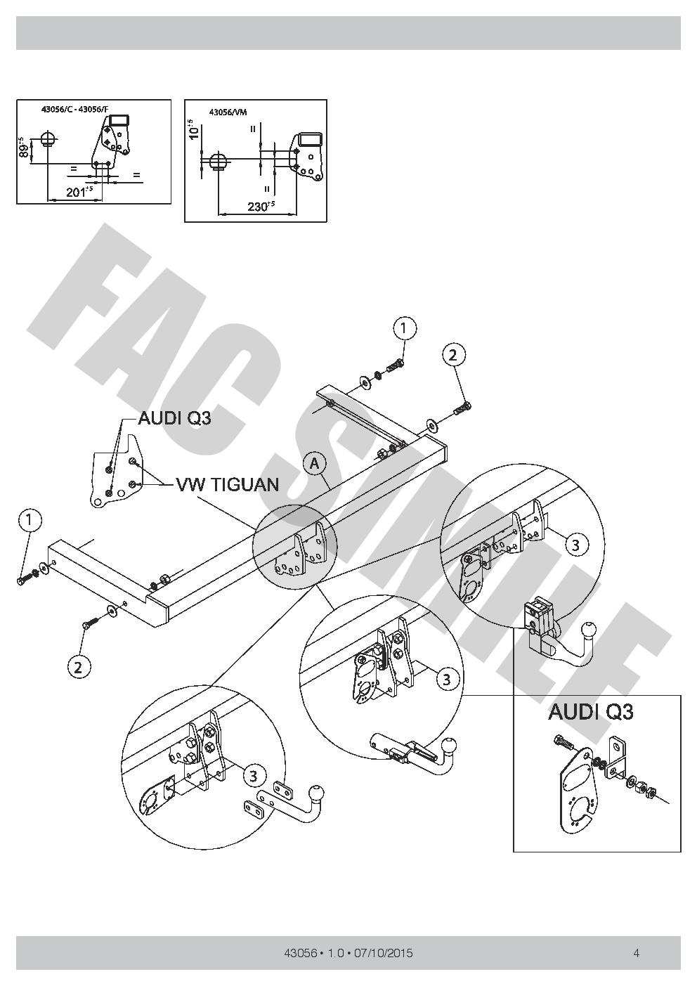 AHK 7p E-Satz C2 Anhängerkupplung Abnehmbare Ford Mondeo Kombi ab 01-07 14074C