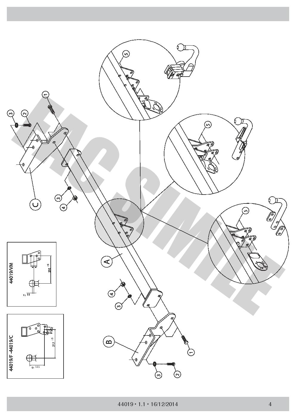AHK Vertikale Abnehmbare Anhängerkupplung 13p C2 E-Satz Ford Fiesta 17 1410/_E2