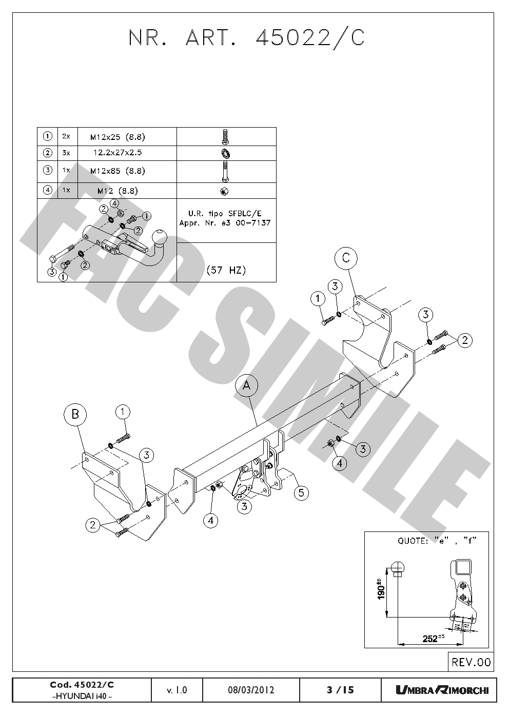Detachable Towbar + 7pin Wiring for Hyundai i40 CW Estate